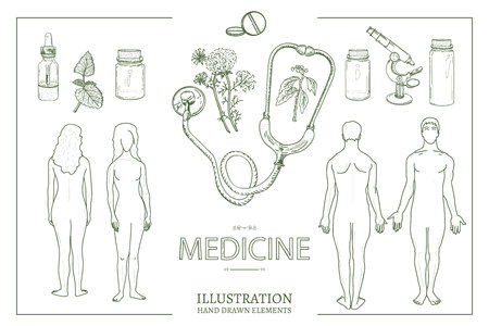 Medical collection. Medical set man and woman male and female anatomy medical equipment hand drawn vector illustration Illustration