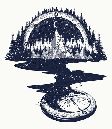 El río de las estrellas fluye desde las montañas y la brújula, el arte del tatuaje. Espacio infinito, símbolos de meditación, viajes, turismo. Concepto de universo sin fin. Tatuaje de montañas, diseño de camisetas, gráficos surrealistas