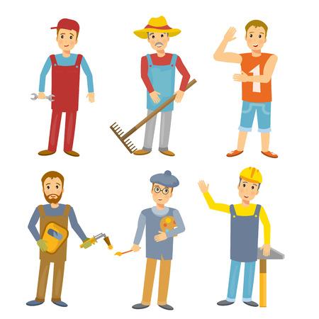Work people flat design. Professions collection people builder, welder, mechanic, farmer, sportsman, artist, kids illustration vector