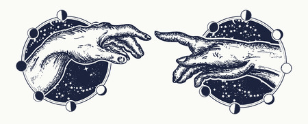 Michelangelo Gods touch. Human hands touching with fingers tattoo and t-shirt design. Hands tattoo Renaissance. Gods and Adam, symbol of spirituality, religion, connection and interaction Ilustracja