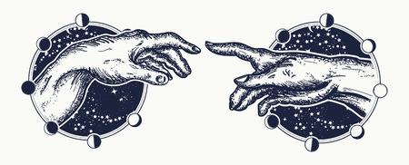 Miguel Ángel, el toque de Dios. Manos humanas que tocan con el diseño de tatuaje y camiseta de dedos. Manos tatuaje Renacimiento. Dioses y Adán, símbolo de espiritualidad, religión, conexión e interacción