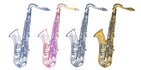 Saxophone isolated on white saxophone jazz saxophone elements music vector Иллюстрация