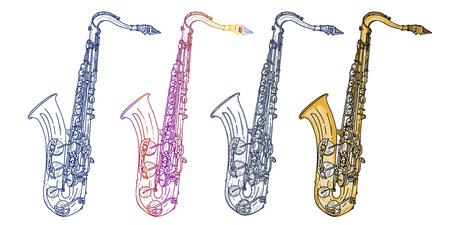 Saxophone isolated on white saxophone jazz saxophone elements music vector Illustration