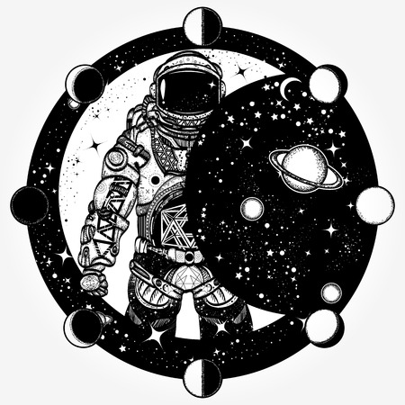 Astronaut tattoo en t-shirt ontwerp. Cosmonaut in het universum, het ontwerp van de zonverduisteringst-shirt. Spaceman tattoo art. Symbool van wetenschap, sterrenkunde, onderwijs