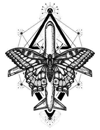 Butterfly and air plane tattoo and t-shirt design. symbol of tourism, travel, dream, holidays, freedom, flight, adventures, motivations, life style. Beautiful butterfly and taking-off plane 矢量图像