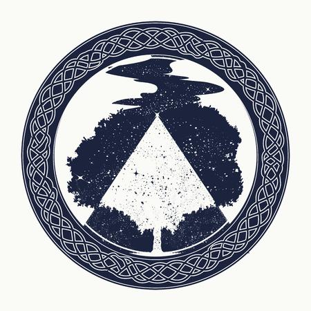 마법 나무 문신과 티셔츠 디자인. 생명의 나무 문신 예술, 삶과 죽음의 상징. 별 강. 인간 영혼의 불멸의 신비한 표시. 심리학, 대칭, 철학,시의 상징 일러스트