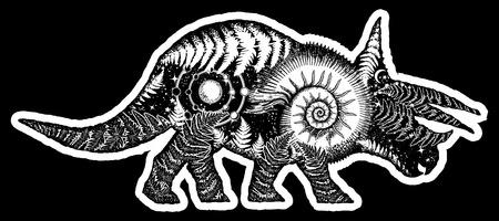 Dinosaur tattoo and t-shirt design. Triceratops double exposure tattoo art. Triceratops dinosaur t-shirt design.Symbol of archeology, paleontology. Triceratops, fern, ammonite, ancient minerals tattoo