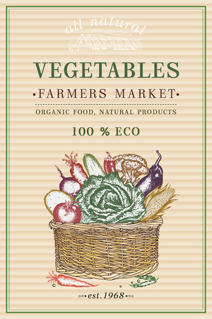 Vegetables poster. Fresh vegetable in basket vintage poster. Eco food. Vegetables vintage frame Illustration