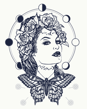 t shirt model: Magic woman and butterfly tattoo and t-shirt design. Art nouveau woman tattoo and t-shirt design. Symbol of a retro, queen, princess, lady. Glamourous vintage art nouveau woman tattoo. Noir woman Illustration
