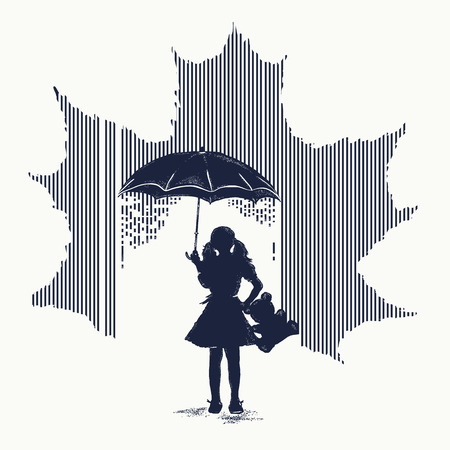 Girl in rain tattoo. Minimalism tattoo. Symbol of psychology, philosophy, stress, autumn. Symbol of protection of children, depression. Girl with umbrella costs in rain t-shirt design.