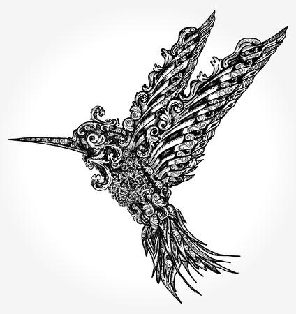 ハミング鳥のタトゥーと t シャツ デザイン。自由、夢、旅行、想像力のシンボルです。飛んで美しいエスニック ・ スタイルでハミング鳥のタトゥ  イラスト・ベクター素材