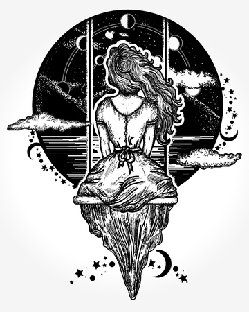 Girl on swing flies to sky tattoo art. Romantic girl shakes on swing against background of mountains and stellar sky tattoo and t-shirt design. Symbol of dream,love, imagination, adventures