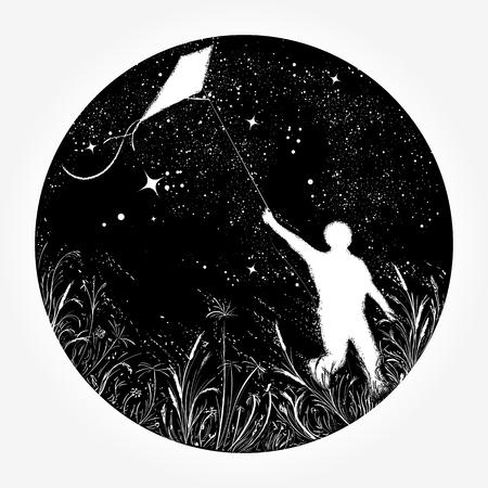 Niño vuela una cometa en el universo, diseño de camiseta. Muchacho de la silueta que vuela una cometa en tatuaje del cielo nocturno. Símbolo de sueño, felicidad, motivación, aspiración, libertad Ilustración de vector