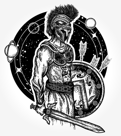 Legionary of ancient Rome and ancient Greece. Gladiator spartan warrior holding sword and shield tattoo art. Symbol of bravery, force, army, hero. Spartan warrior t-shirt design Ilustração