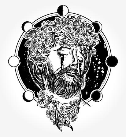 Jesus Christ tattoo. Jesus Christ portrait in sky tattoo and t-shirt design. Prophet cries stars surreal art. Symbol of christianity, prayer, religion Illustration