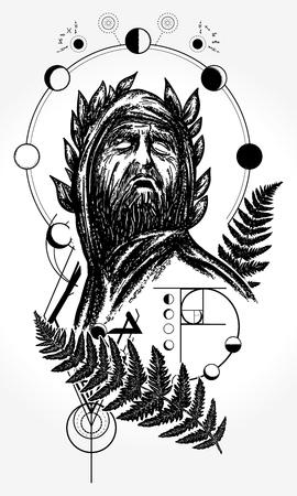 Wetenschapper tattoo en t-shirt design. God van kennis tatoeage. Grote profeet, genie, schepper van universum. Symbool van wetenschap, kunst, onderwijs, poëzie, filosofie, psychologie Vector Illustratie
