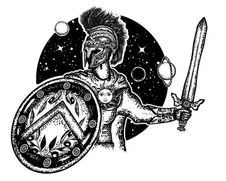 Legionär des antiken Rom und des antiken Griechenlands. Standard-Bild - 88316907
