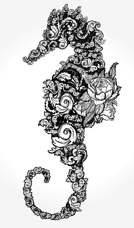 Sea horse tattoo and t-shirt design. Seahorse of flowers isolated on white background t-shirt art.  Symbol of travel, freedom, navigation
