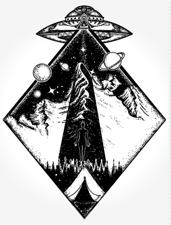 UFO tattoo art and t-shirt design. Mystical symbol paranormal phenomena, first contact, UFO kidnapped tourist from tent in mountains tattoo. Invasion of aliens. Aliens kidnap human