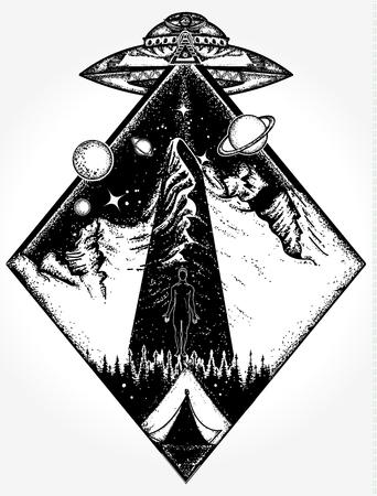 Art de tatouage UFO et conception de t-shirt. Phénomènes paranormaux de symbole mystique, premier contact, OVNI enlevé touristique de la tente dans les montagnes de tatouage. Invasion d'étrangers. Les étrangers enlèvent l'humain