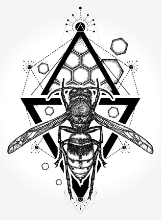 Bee tattoo and t shirt design. Symbol of freedom, flight. Wasp tattoo. Queen Bee hand drawn vector
