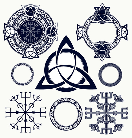 셀 틱 요소 문신 및 t- 셔츠 디자인입니다. 경외의 투구, aegishjalmur, 켈트 삼위 일체 매듭, 귀영 나팔. 켈트 설정된 벡터