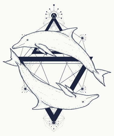 Two dolphins tattoo, love symbols, love tattoo, two dolphins geometric art style, tribal totem animals, t-shirt design. Adventure, travel, outdoors tattoo. Dolphins in triangles marine tattoo