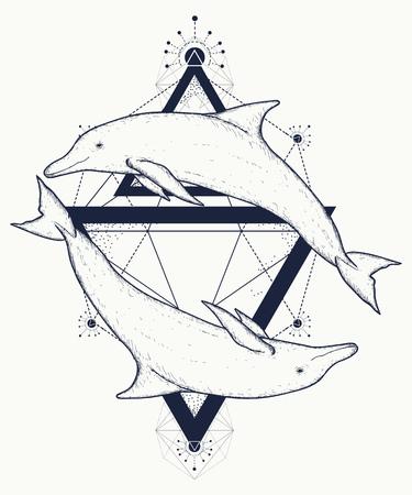 Twee dolfijnen tatoeage, liefde symbolen, liefde tatoeage, twee dolfijnen geometrische kunststijl, tribale totemdieren, t-shirt design. Avontuur, reizen, buiten tattoo. Dolfijnen in driehoeken mariene tattoo