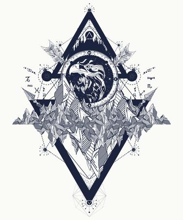 Eagle tattoo art, bergen, gekruiste pijlen, bos. Ontwerp van de adelaar het creatieve t-shirt, spiritualiteit, boho, magisch symbool. Astrologische symbolen, etnische stijl, valk in rotstatoegering