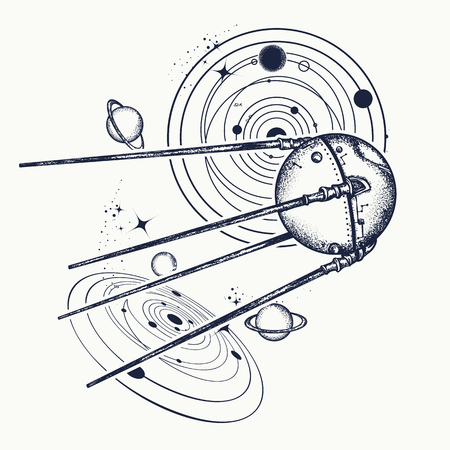 스푸트니크 문신. 우주선 문신과 티셔츠 디자인. 우주 연구. 태양계의 우주 탐사, 과학, 미래, 연구의 상징 일러스트