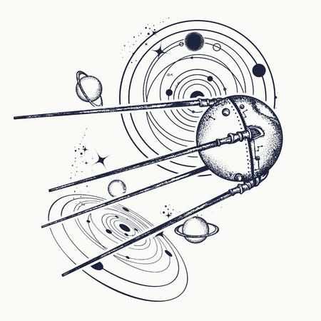 Spatnik tatuaż. Przestrzeń tatuaży statku i t-shirt projektu. Badania uniwersalne. Symbol wyprawy kosmicznej, nauka, przyszłość, badania układu słonecznego