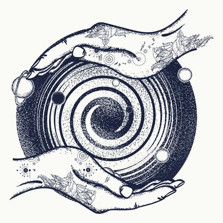 마법의 손과 우주 문신과 티셔츠 디자인. 우주의 상징, 우주 여행, 인류의 집, 우주의 은하, 은하수 일러스트