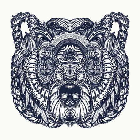 Bear tattoo and t-shirt design.