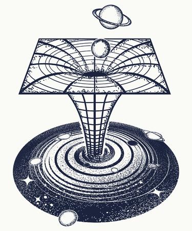 블랙홀 문신과 티셔츠 디자인.