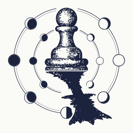 Tatuaje de ajedrez Ilustración de vector