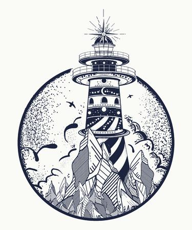 Lighthouse tattoo and t-shirt design.
