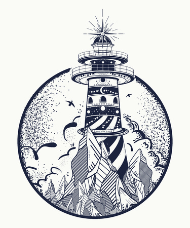 Lighthouse tattoo and t-shirt design.