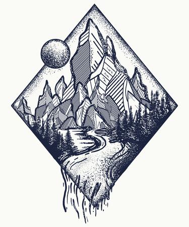 山と川のタトゥーで t シャツのデザインです。