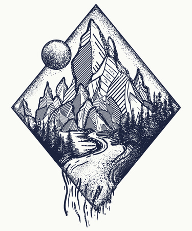 Mountain and river tattoo and t-shirt design. Ilustração