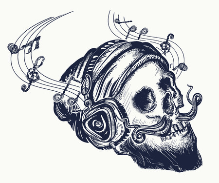 Human skull tattoo and t-shirt design. Иллюстрация