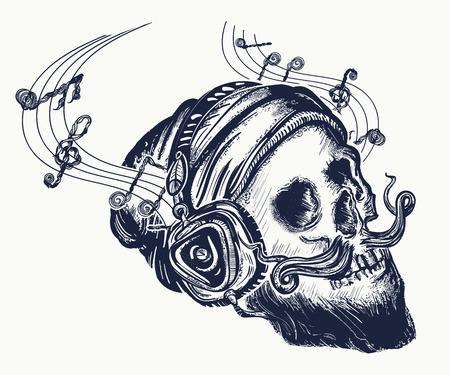 Human skull tattoo and t-shirt design. Illustration