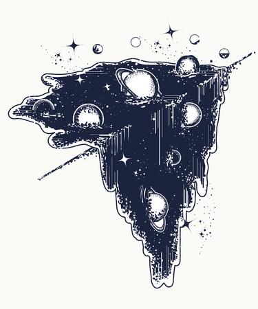 Tatouage d'univers et conception de t-shirt. Vecteurs