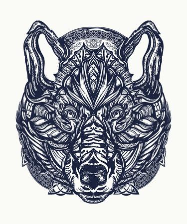 Wolf tattoo and t-shirt design. Illustration