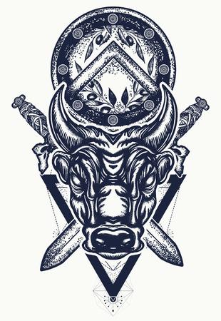 황소 문신과 티셔츠 디자인. 일러스트