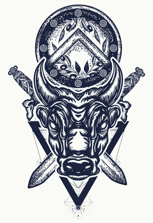 Bull tattoo and t-shirt design.