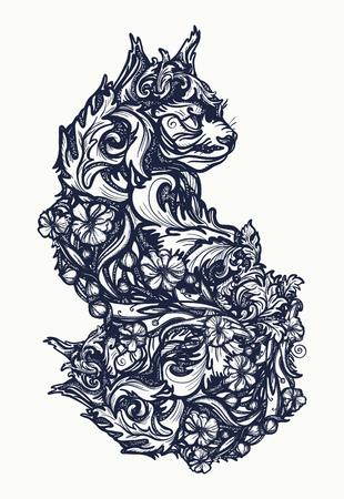 魔法猫のタトゥーや t シャツのデザイン。  イラスト・ベクター素材