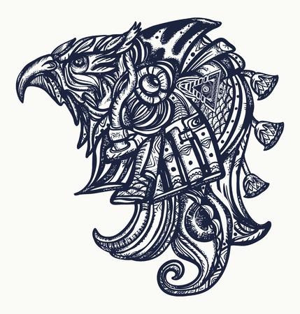 Het oude tatoegering of de t-shirtontwerp van Egypte. Stock Illustratie