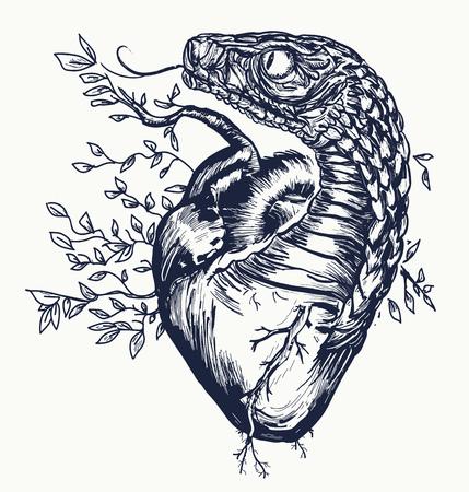 Schlange und Herz Tattoo. Vektorgrafik
