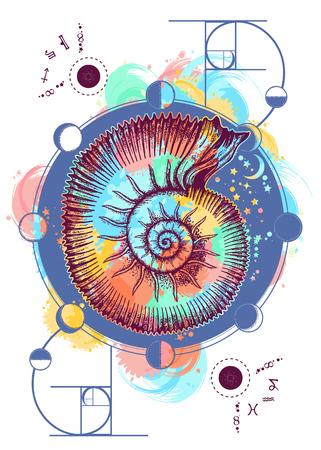 Ammonite shell occult tattoo art. Ruimte-ammoniet en maanstanden, ontwerp van de heilige geometrie t-shirt.
