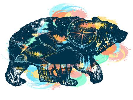 Belichtungsfarbtätowierungskunst des magischen Bären Doppelbelichtung. Berge, Kompass. Bärngrizzlyschattenbild-T-Shirt Entwurf. Tourismus-Symbol, Abenteuer, tolles Outdoor